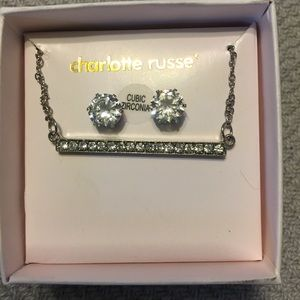 NWT silver bar necklace and stud earrings set